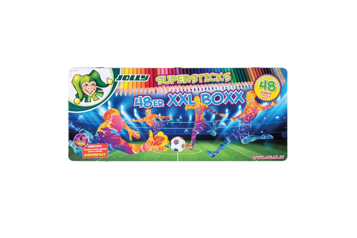 24 Farben mit 12 Farbstiften JOLLY Buntstifte Supersticks Kinderfest XXL Box Version 1 Kinderfest und Bruchsicher Bruchfeste /& ungiftige Farbstifte /& Superstick Crazy Buntstifte Farbstifte