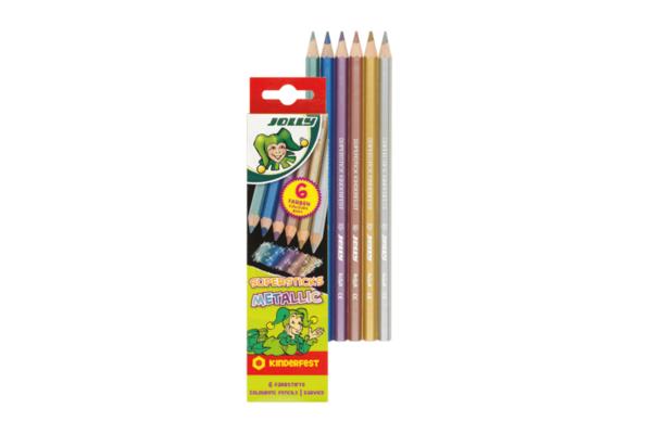 Buntstifte 6 Metallicfarben für Kinder