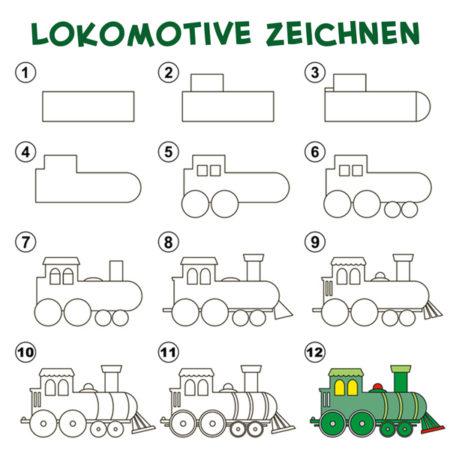 Eine Lokomotive zeichnen