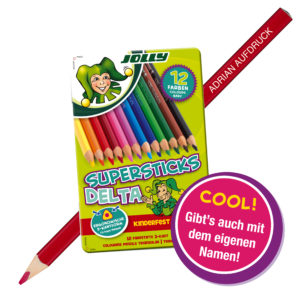 Superstick Delta 12 Farben, Buntstift, Farbstift, mit Namen