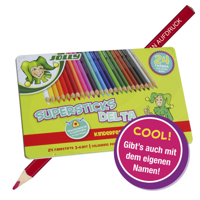 Supersticks Delta, 24 Farben, Buntstift mit Namen