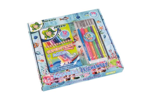 Aquarell-Set, wasservermalbare Buntstifte und Zeichenblock