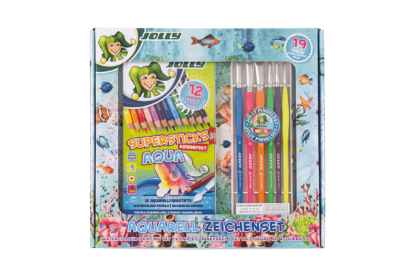 Watercolour Painting Set, water-soluble coloured pencils, brushes and drawing paper