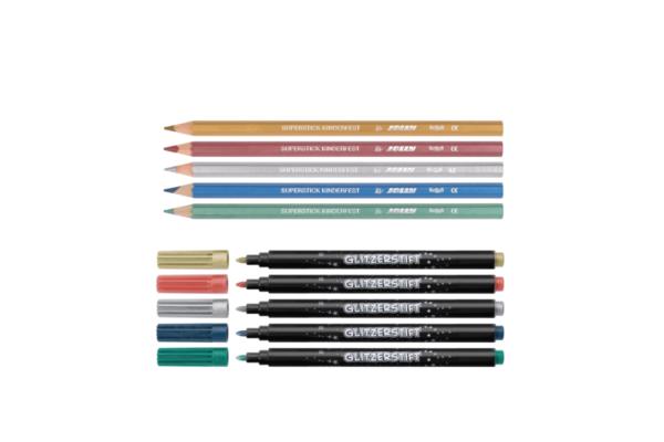 Buntstifte und Fasermaler, glitzer, metallic