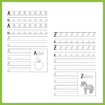Schreibübung Alphabet